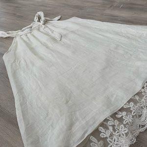 AMANTI Italian linen trapeze dress with lace